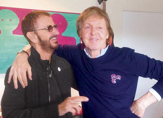 McCartney y Starr graban en sesión de estudio